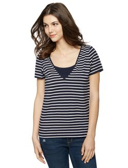 Seraphine Mock Layer Nursing Tee, Nautical Stripe