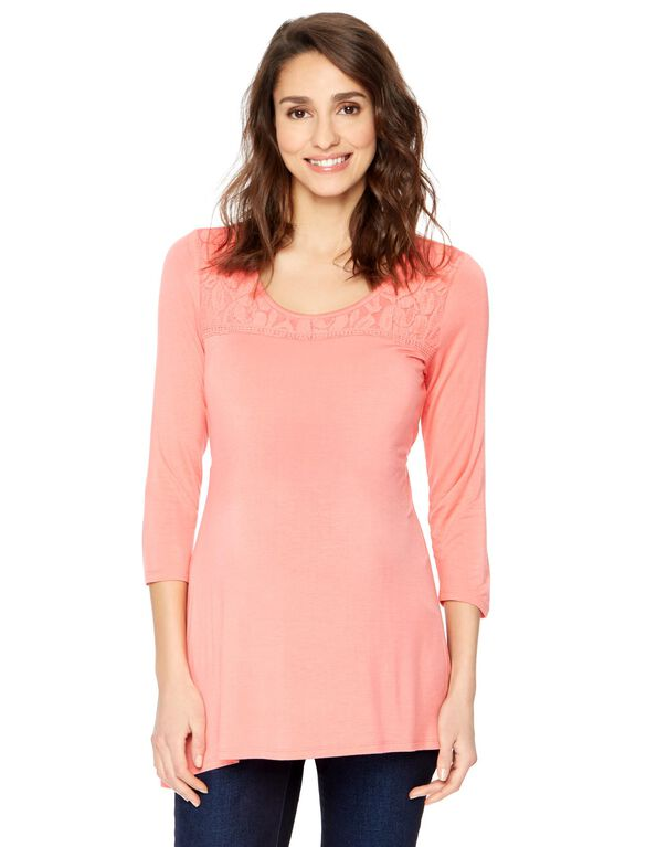Lace Trim Maternity Top, Peach
