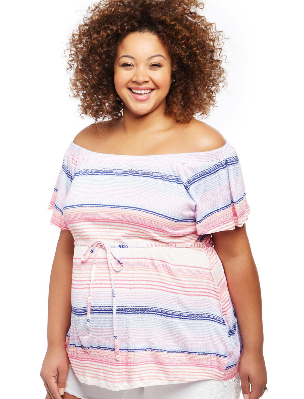 Plus Size Off The Shoulder Striped Maternity Top at Motherhood Maternity in Victor, NY | Tuggl