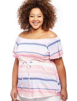 Plus Size Off The Shoulder Striped Maternity Top, Pink Stripe