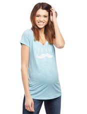 Team Mustache Graphic Tee, Blue