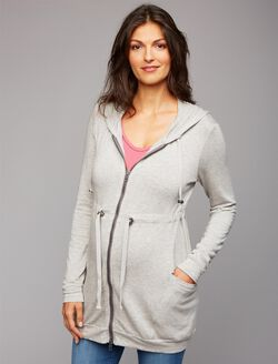 Zip Front Maternity Cardigan, Heather Grey