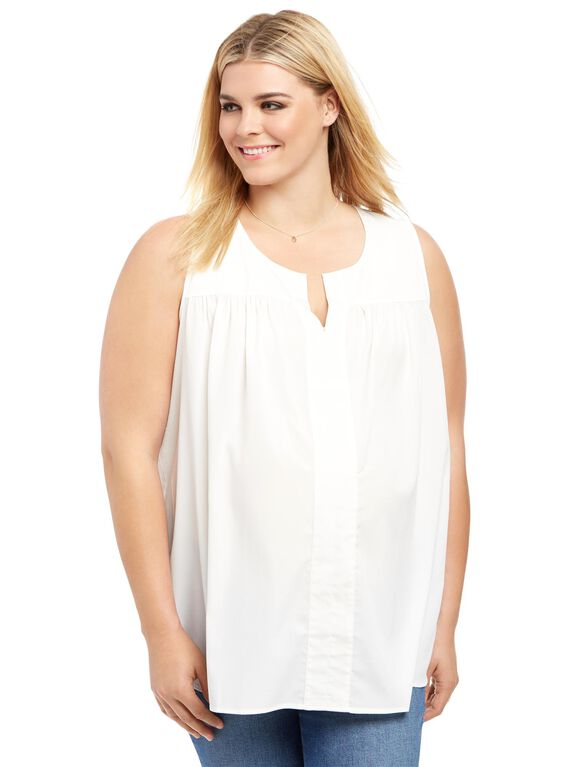 Plus Size Fit And Flare Maternity Blouse, White