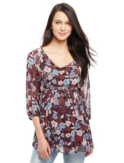 Raglan Sleeve Maternity Blouse, Brown Floral