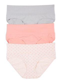 Maternity Fold Over Panties (3 Pack)- Dot/Heart, Grey/Pink/Heart