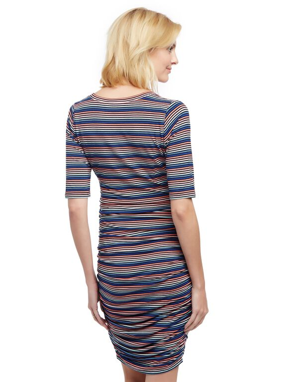 Side Ruched Maternity Dress, Multi Stripe