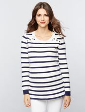 Button Detail Maternity Sweater, White/Navy