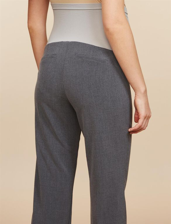 Petite Secret Fit Belly Bi-stretch Suiting Straight Leg Maternity Pants, Heather Grey