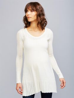 Pointelle Maternity Sweater, Egret