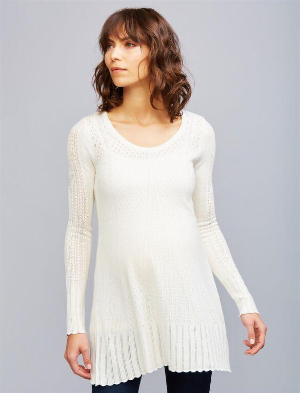 Pointelle Maternity Sweater, Egret