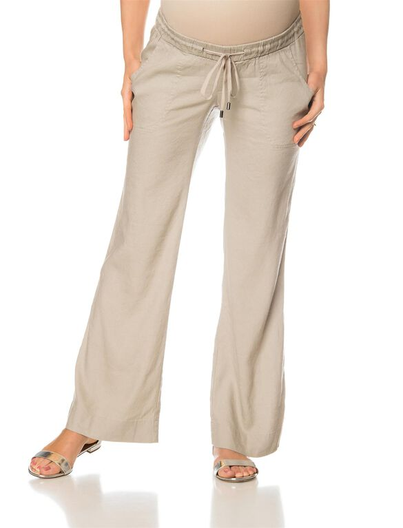 Pull On Style Linen Wide Leg Maternity Pants, Sand