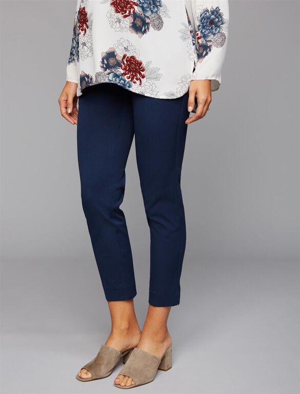 Secret Fit Belly Straight Ankle Maternity Pants- Print, Lighter Navy