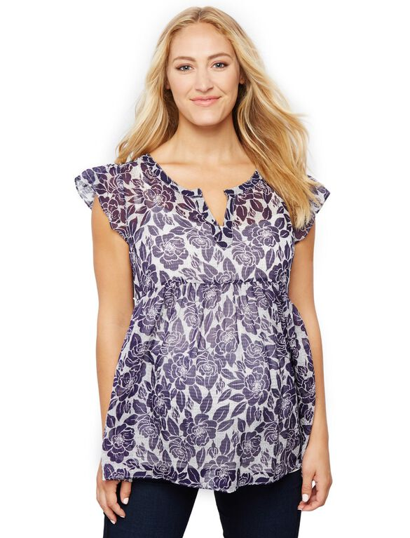 Printed Babydoll Maternity Blouse, Navy Floral Print