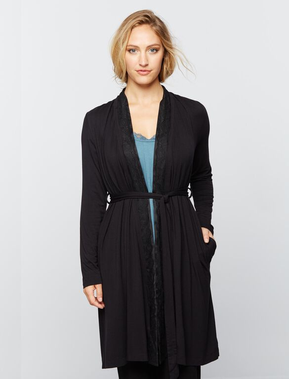Lace Trim Nursing Robe- Solid, Black