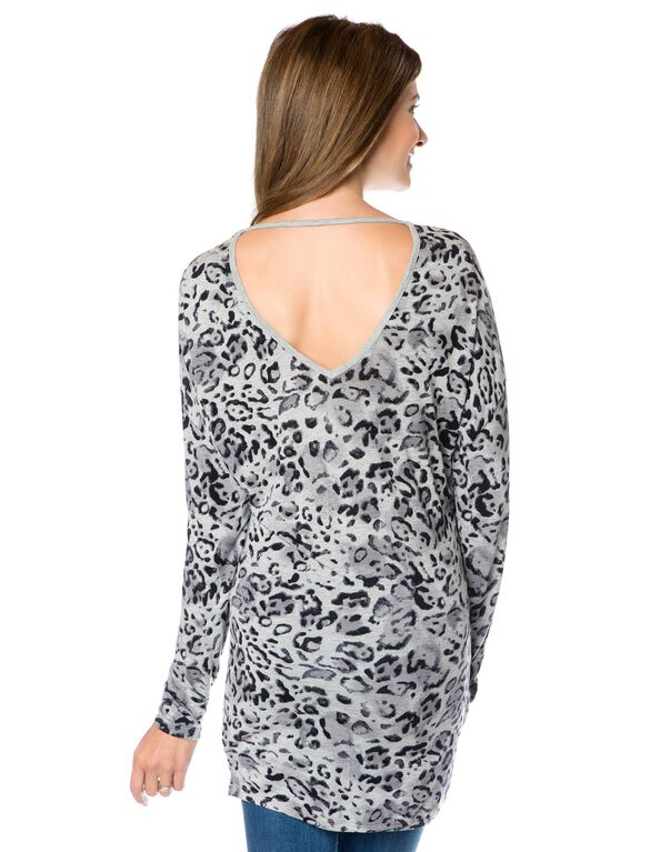 Back Interest Maternity Top, Grey Print