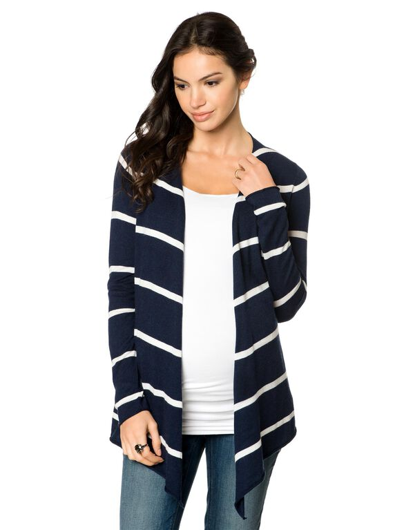 Cascade Maternity Cardigan, Navy/White