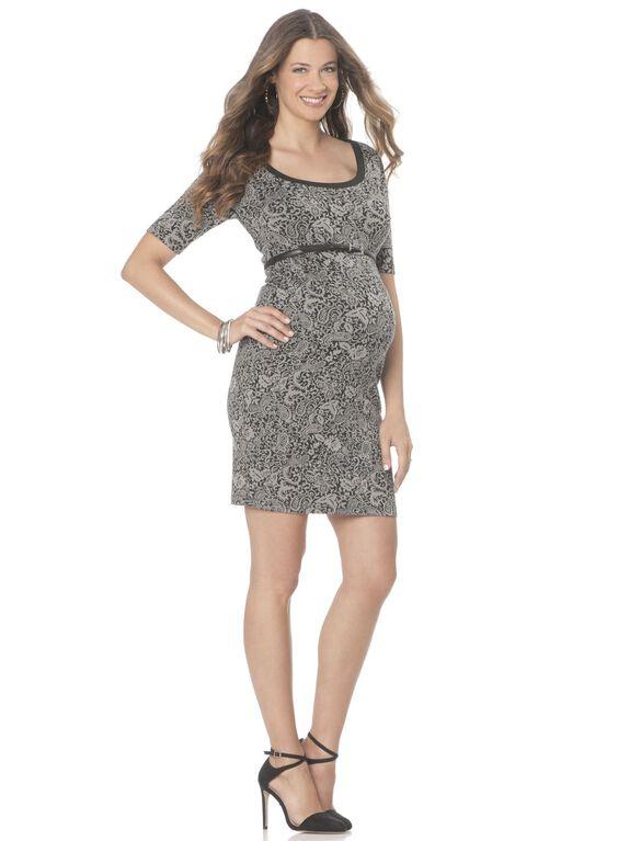 Belted Maternity Dress, Jacquard Paisley