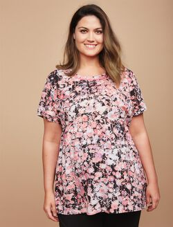 Plus Size Peplum Maternity Top, Pink Floral Print