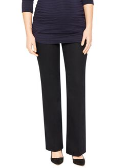 Petite Secret Fit Belly Twill Boot Cut Maternity Pants, Black
