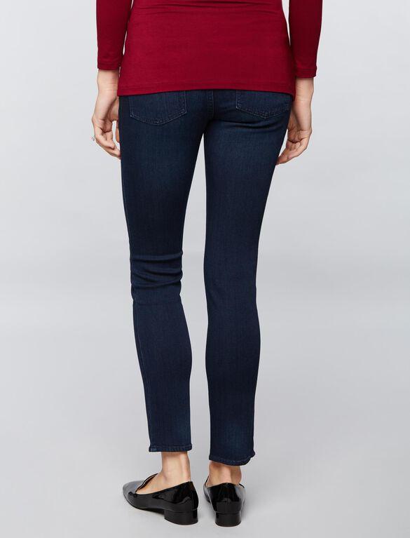 Luxe Essentials Denim Secret Fit Belly Straight Leg Maternity Jeans, Dark Wash