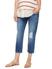 DL1961 Secret Fit Belly Riley Crop Maternity Boyfriend Jeans, Med Wash