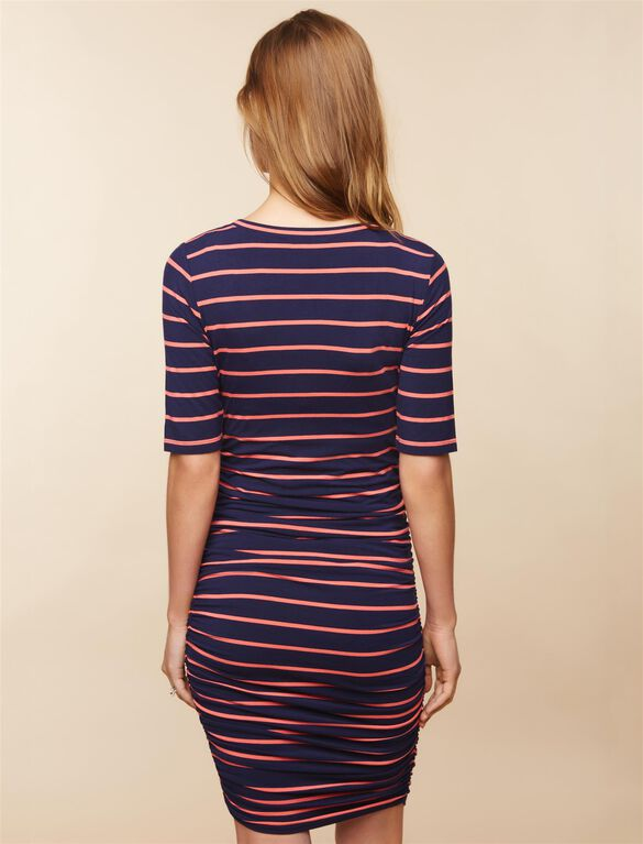 Side Ruched Maternity Dress- Stripe, Navy/Coral Stripe