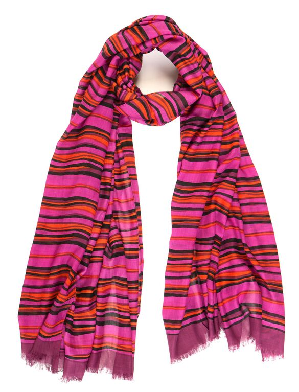 Berry Wavy Stripe Scarf By Bindya Accessories, Berry