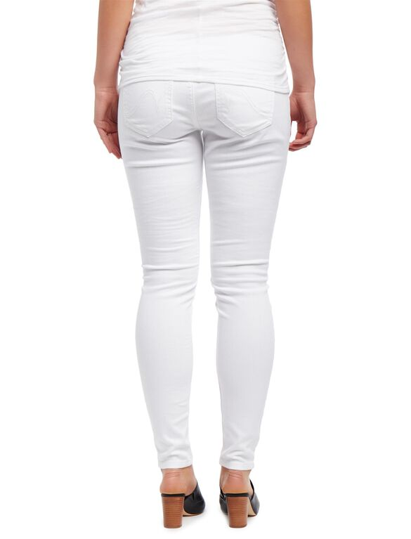 Secret Fit Belly Destructed Skinny Maternity Jeans, White