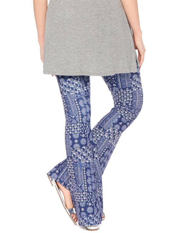 Secret Fit Belly Super Flare Maternity Pants, Blue Bandana Print
