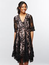 Taylor Lace Hanky Hem Maternity Dress, Black/Pink Lace