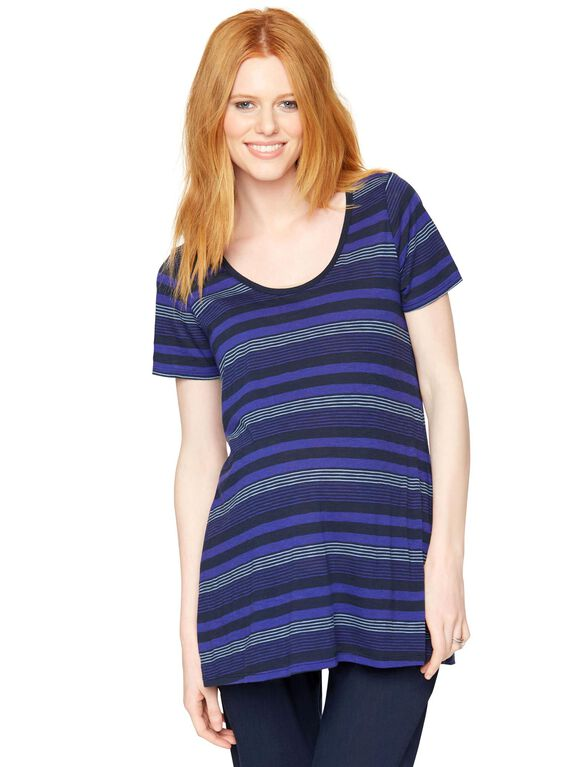 High-low Hem Maternity T Shirt, Blue/Heather Grey