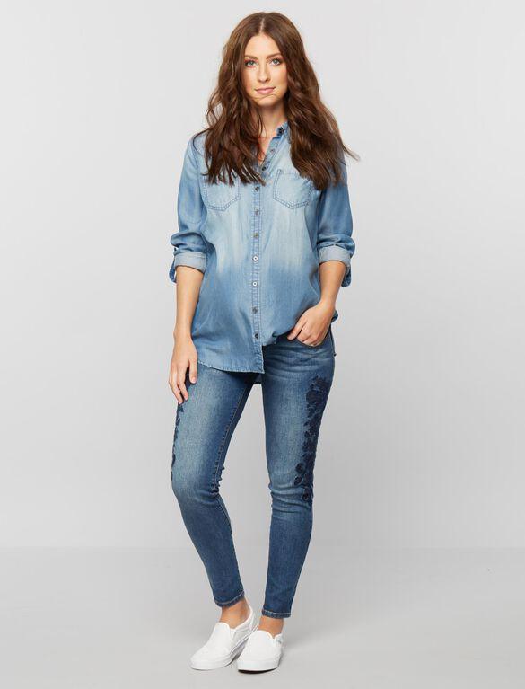 Luxe Essentials Denim Button Front Maternity Shirt, Blue