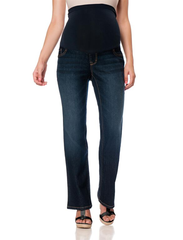 Motherhood Indigo Blue Petite Bootcut Maternity Jeans, Midnight Dark