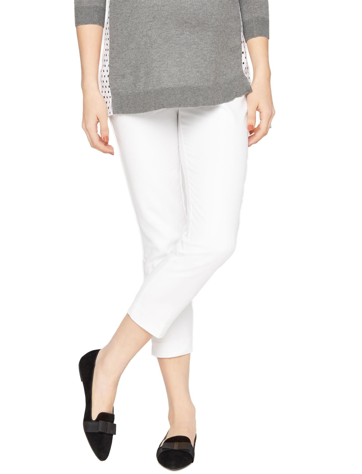 Secret Fit Belly Straight Ankle Maternity Pants- White