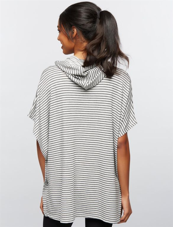 Lift Up Poncho Nursing Hoodie, Mini Stripe Grey