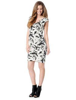 Ruched Maternity Dress, Black/White