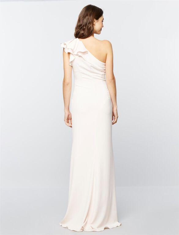 Carmen Marc Valvo Ruffled Maternity Gown, Blush