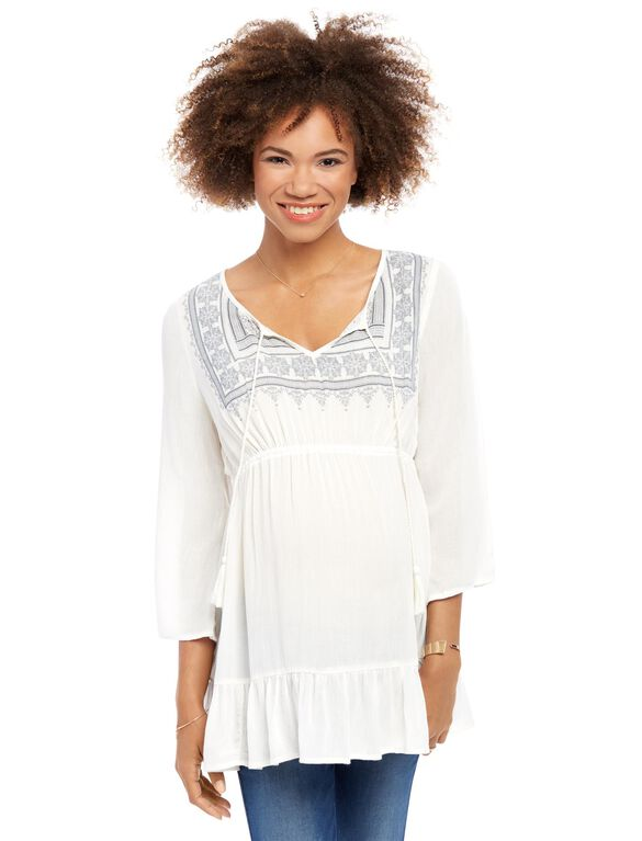Embroidered Split Neck Maternity Blouse, Cream