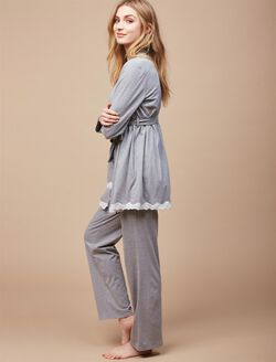 Lace Trim 3 Piece Maternity Pajama Set, Gray Dot