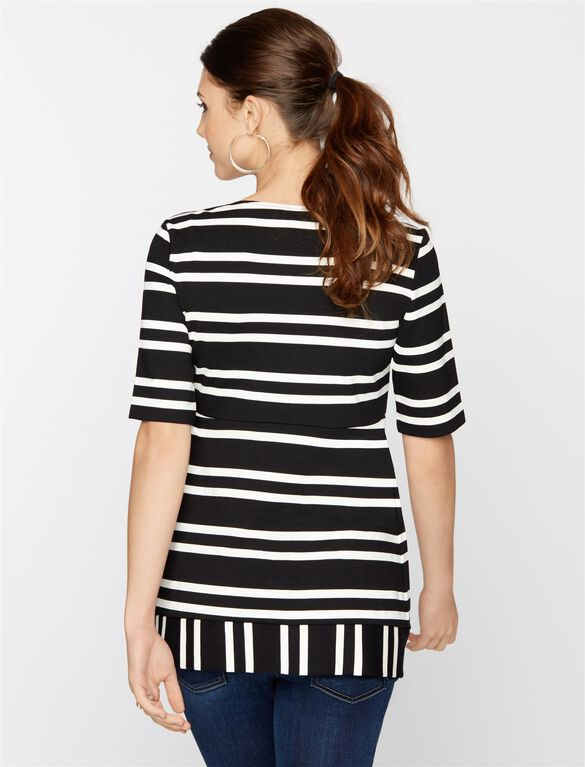 Isabella Oliver Square Neck Maternity Top, Black/White Stripes
