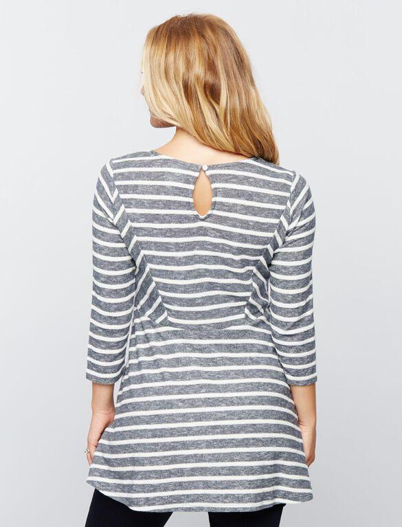 Luxe Essentials Denim Babydoll Maternity Tunic, Stripe