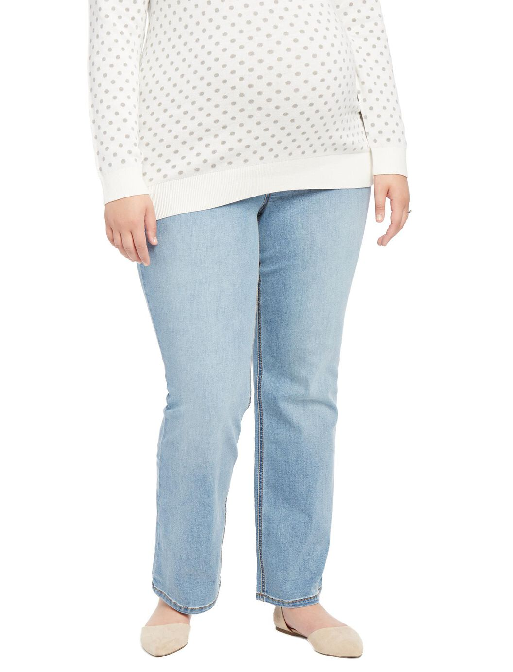 Jessica Simpson Plus Size Secret Fit Belly Boot Maternity Jeans- Light Wash at Motherhood Maternity in Victor, NY | Tuggl