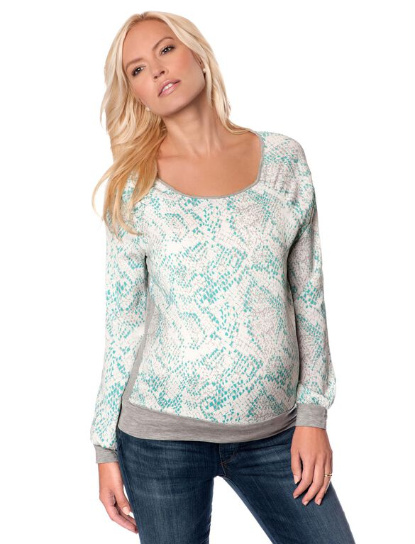 Banded Bottom Maternity Shirt, Snake Print