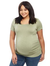 Plus Size Jessica Simpson Crossback Maternity Tee, Green Olive