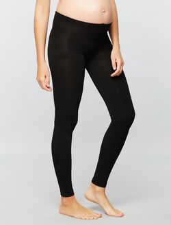 Fleece Lined Maternity Leggings, Black
