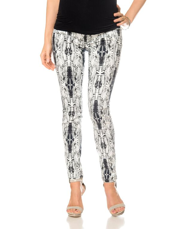 Shya Secret Fit Belly Maternity Jeans, Feather Print