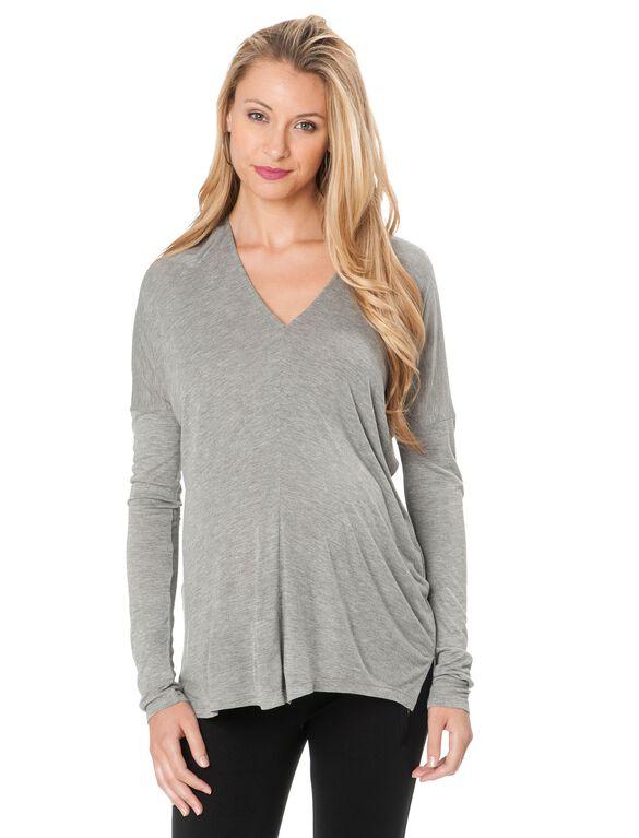 Back Interest Maternity Top, Grey