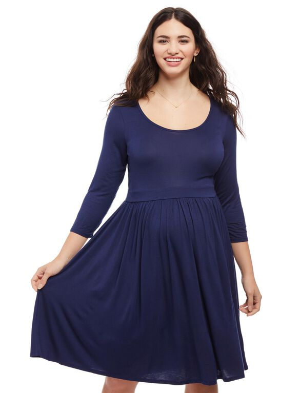 Plus Size Fit And Flare Maternity Dress, Navy