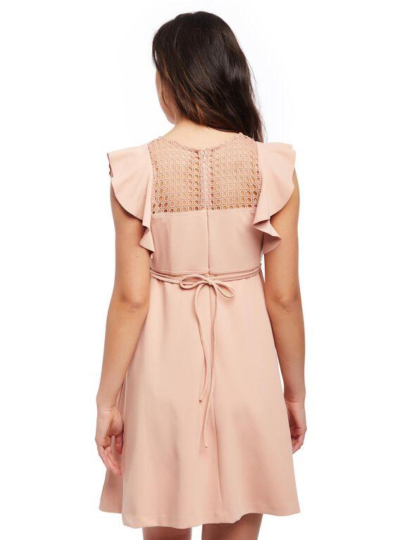 Eyelet Flutter Sleeve Maternity Dress, Pink