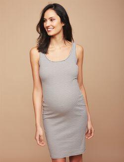 Rib Knit Maternity Dress, Olive/White Stripe